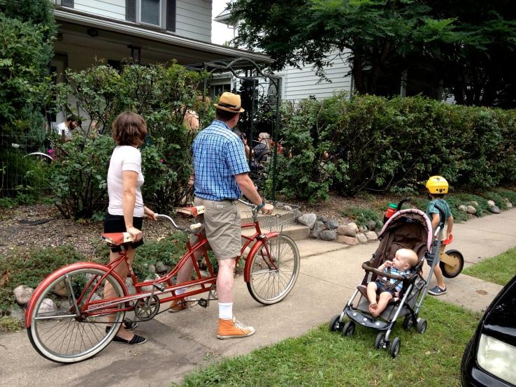 Kent and Emily Aldrich, Paulman kids outside Celtic jam