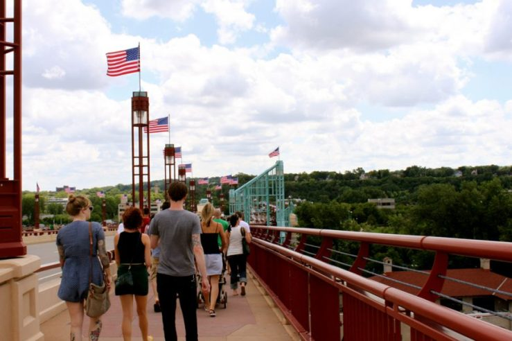 A design concept for the High Bridge includes a protected sidewalk, similar to the one on the Wabasha bridge.